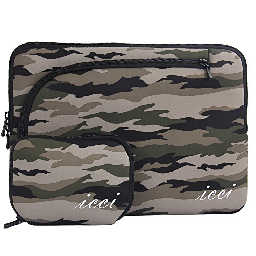 icci ShockProof Sleeve Custodia Borsa con tasche accessorie Per PC portatili 35,8 cm (14 Pollici) Netbook / Laptop / Notebook Computer / Chromebook - Camouflage
