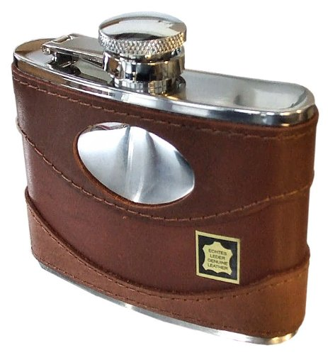 Personalised Engraved 4oz Genuine Spanish Brown Leather Hip Flask
