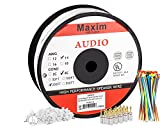 In Wall Speaker Wire | 250 Feet | 14AWG CL3 Rated 4-Conductor Wire White Oxygen Free Copper includes banana plugs cable clips and ties