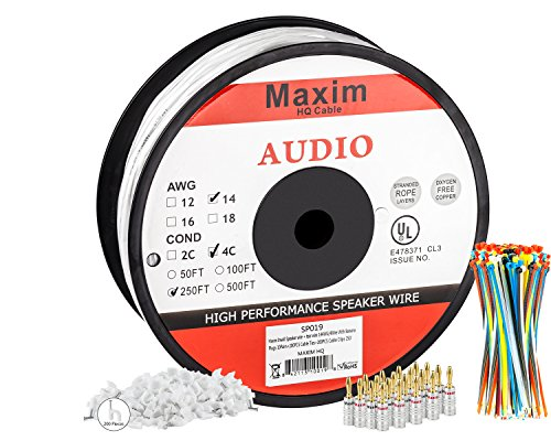 In Wall Speaker Wire | 250 Feet | 14AWG CL3 Rated 4-Conductor Wire White Oxygen Free Copper includes banana plugs cable clips and ties (14 Gauge Speaker Wire compare prices)