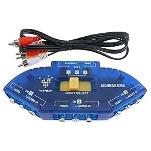 3 Way AV Audio Video RCA Switch Switcher Splitter w/ Cable