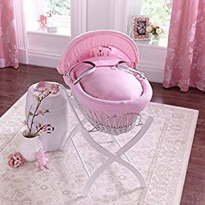 Izziwotnot Pink Gift Moses Basket (White Wicker)       Babyreview