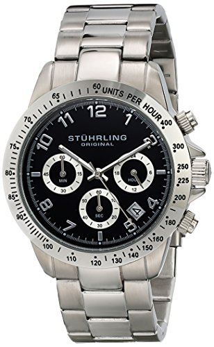 "Stuhrling Original Men's 665B.01 ""Concorso"" Quartz Chronograph Black Dial Watch image"