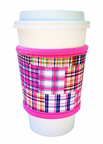 Cheapest Prices! Joe Jacket Neoprene Drink Insulator Sleeve Cup Grip, Pink Plaid
