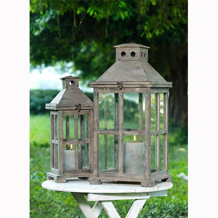 A&B Home Set of 2 Windowpane Lanterns A&B Home B005U82V3Q