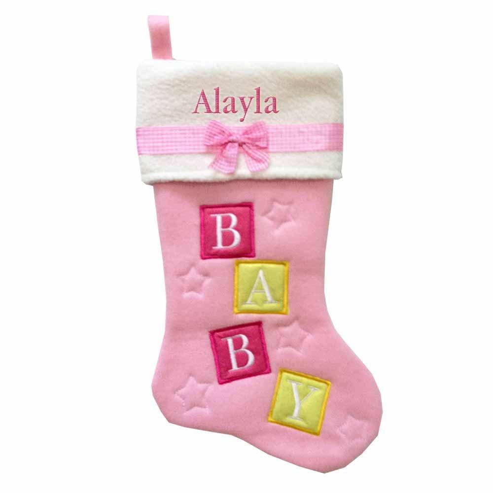 Alayla Embroidered Baby Girl Blocks Name Christmas Stocking lonex speedy sweet baby pastel салатовая