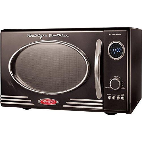 Black Compact Retro Vintage Microwave Oven