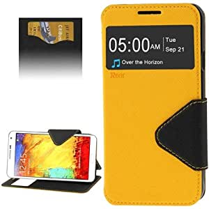Crazy4Gadget Roar Series Cross Texture Leather Case with Call Display ID & Credit Card Slots & Holder for Samsung Galaxy Note 3 Neo / N7505(Yellow)