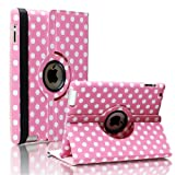 SAVEICON Pink and White Polka Dot Pattern PU Leather Case For iPad 3 (the New iPad 3rd Generation) / iPad 2 With 360 Degrees Rotating Stand, Supports Auto Sleep/Wake