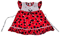 Be BeBo Girl's cotton Regular Fit Dress (555, Red, 12-18 months)