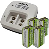 Hitech - Four 9V Lithium-Polymer Batteries and Charger Set