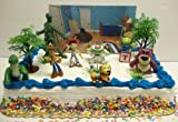 Toy Story 3 Birthday Cake Topper Set Featuring Rex, Woody, Jessie, Buzz, Slinky, Lotso, Alien and Other Decorative Accessories - All Items Shown are Included in Set