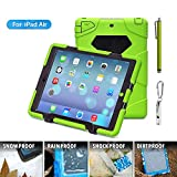 ACEGUARDER Apple Ipad Air Ipad 5 Case Waterproof Rainproof Shockproof Kids Proof Case for Ipad 5 (Gifts Outdoor Carabiner + Whistle + Handwritten Touch Pen) (Aceguarder Brand) (GREEN/BLACK)