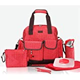 New Allis 7PCS Baby Ex Large Nappy Changing Bag Backpacks - Red
