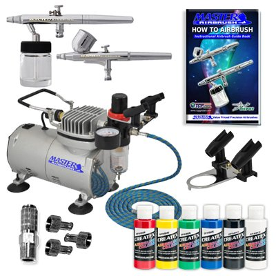 Master Airbrush Complete System with Paint. 2 Airbrushes, Air Compressor, 6' Air Hose, Airbrush Holder, 2 Quick Couplers, 2-oz Bottles of Createx Premium Artist Paint in Black, Red, Blue, Yellow, Green & White. Now Includes a (FREE) How to Airbrush Training Book to Get You Started.