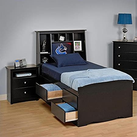 Prepac Sonoma Black Twin Bookcase Platform Bed 3 Piece Bedroom Set - Twin / Firm