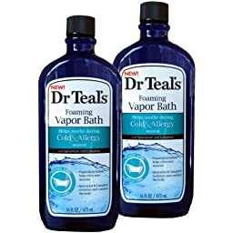 Dr. Teal\'s Foaming Vapor Bath For Cold and Allergy, 16 oz (2 Bottles)