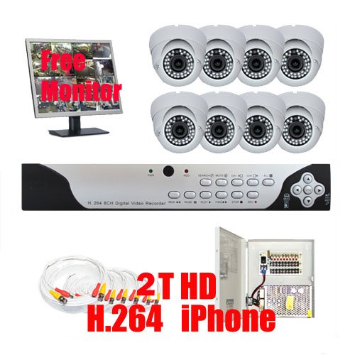 """Complete Professional 8 Channel H.264 (2T Hd) Dvr Cctv Security Camera Surveillance System Package With 8 Pack 1/3"""" Sony Ccd, 560 Tv Lines, Varifocal-Focal 2.8~10Mm Lens, 36Pcs Ir Led, 98.5 Feet Ir Distance Indoor Cameras + 1 X Free 19"""" Security Monitor"""