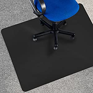 Office Marshal® Black Polycarbonate Office Chair Mat - Carpet Floor Protection - No-Recycling Material - High Impact Strength