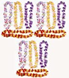 Fun Express 12 Hawaiian Ruffled Simulated Silk Flower Leis Novelty (1 Dozen)