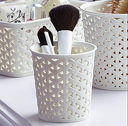 Curver Faux Rattan Dresser Storage Pot - Small (Perfect For Make-Up Brushes)