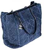 Chanel Large Tote Bag 93925 Serpent Leather Navy Blue