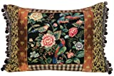 123 Creations C415.16x22 100-Percent Wool Canton Garden Petit Point Pillow with Fabric Trimmed, 22 W x 16 H