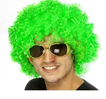 Afro Adult Child Indian Remy Curly Costume Party Hair Rainbow Football Fan Wig 12 Color (Green)