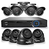 SANNCE® 8CH Full 960H CCTV DVR + Super 8 900TVL 42PCS Leds 110ft Night Vision Outdoor/Indoor Video Surveillance Security Camera System QR Code Scan Remote Access No HDD (4 Bullet+4 Dome cameras--NO HDD)