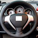 Steering Wheel Cover for Honda Old City Fit Jazz Hand-stitched Black Genuine Leather Cover