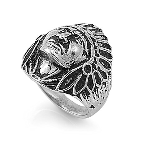 Chief Native American Ring 27Mm Stainless Steel Size 8