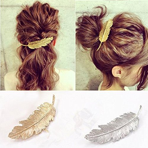 Pixnor 2pcs Leaf Design Punk Women Girl Hair Clip Pin Claw Barrettes Accessories (Feather Clips compare prices)