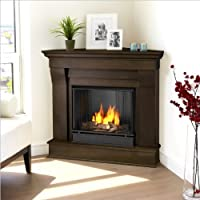 Real Flame Chateau Gel Corner Fireplace in Dark Walnut Finish by Real Flame