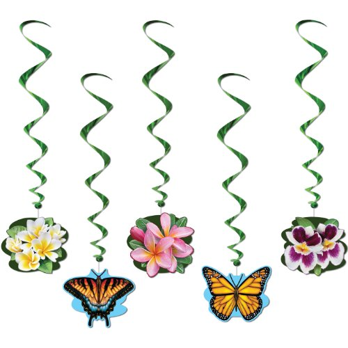 Luau Flower Garden Whirls 3ft. 4in. 5/Pkg, Pkg/1