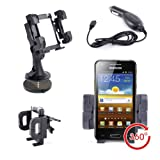 DURAGADGET Support Voiture Multifonction 3 en 1 pour Samsung Galaxy Ace, Ace Plus, Galaxy S II, Galaxy Note, Galaxy S, Wave II, Galaxy S SCL, Galaxy Mini, Wave 3, Galaxy S Plus, Wave, Galaxy Nexus, S5660, Omnia W, Wave 578, B7510, Nexus S, Galaxy Naos, Galaxy Beam, Samsung Galaxy S3, Galaxy S III, Galaxy Pocket, Galaxy S WiFi 4.2, Galaxy S Advance, Galaxy Y, Galaxy Xcover, Omnia M, Wave M, Galaxy Chat, Samsung Wave M noir - Open Market, Wave 575, Galaxy Mini 2, Galaxy Note 2, Galaxy S Duos, ATIV S, Galaxy Music, Galaxy S3 Mini, Galaxy Premier GT-I9260, Galaxy S4, Ativ Odyssey, Galaxy Grand Duos GT I8092, Galaxy S IV - Support grille d'a�ration, Pare-brise et Tableau de bord + Chargeur Voiture Bonuspar Duragadget