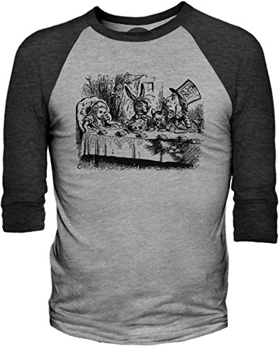 Big Texas Alice in Wonderland - Mad Hatter's Tea Party (Black) 3/4-Sleeve Baseball T-Shirt
