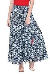 LeModa Women's Plazzo Stylish Blue Printed Cambric Plazzo