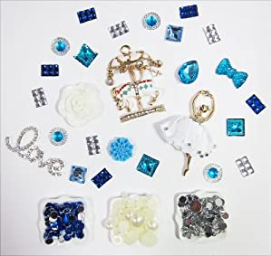DIY 3D Bling Cell Phone Case Deco Kit : Rhinestone Carousel Horse, White Rose, and Blue Cabochons