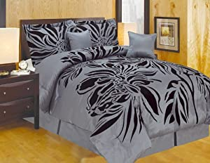 7pc Queen Faux Silk Modern Black Grey Flocking Satin Comforter Set Bedding-in-a-bag.