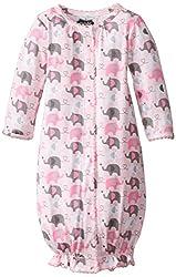 Mud Pie Baby-Girls Newborn Elephant Convertible Gown, Pink, 0-3 Months