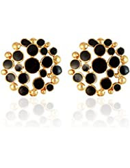 Sarah Metal Stud Earring For Women (Black)