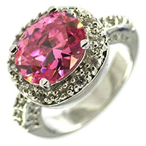 Hot Pink CZ Accented Ring SR7428