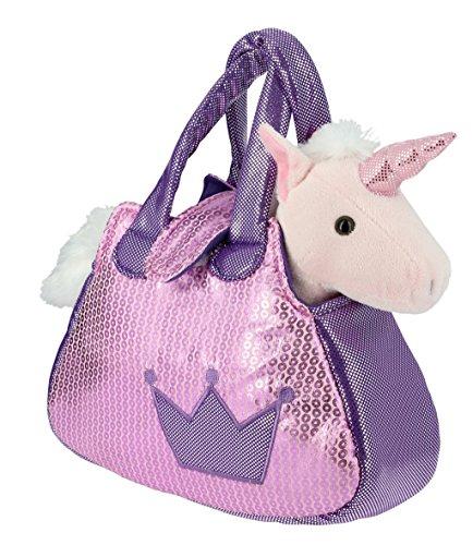 Sac-brillant-rose-et-violet-avec-un-Licorne-rose-en-Peluche-28cm-Calidad-Soft