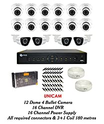 Unicam CCTV Combo - 12 Dome Cameras +4 Bullet Cameras+ 1 DVR with Mouse & Remote+ 4 CHANNEL POWER SUPPLY + 90 METRES 3+1 WIRE COIL + All Required Connectors