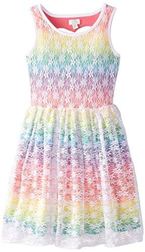 The Children's Place Big Girls' Rainbow Lace Dress, Monet Iris, X-Large/14