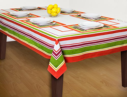 Fiesta Table Linen Bundle - One Rectangular Tablecloth (60 x 102 Inches) and Set of 6 Placemats (12 x 19 Inches) (Teapot Mat compare prices)