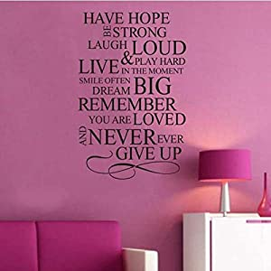 Inspirational Quotes Home Decor Have Hope Be Strong Laugh