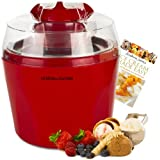 "Andrew James Red Ice Cream, Sorbet and Frozen Yoghurt Maker Machine 1.45 Litre + 128 Page Recipe Book - As voted ""Best Buy"" Ice Cream Maker By Which Magazine - Includes 2 Year Manufacturer's Warranty"