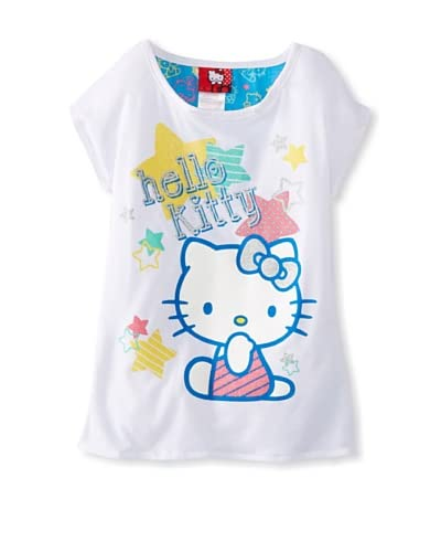 Hello Kitty Girl's Graphic T-Shirt with Chiffon Back  [Bright White]