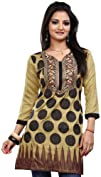 Long India Tunic Top Womens Kurti Printed Embroidered Blouse